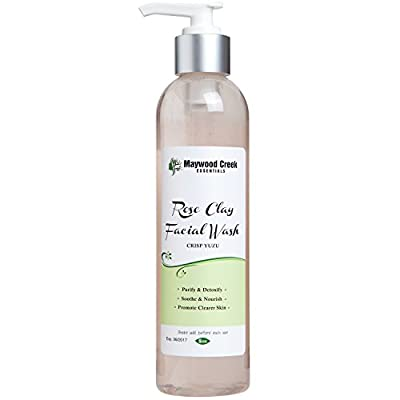 Cheapest Facial Wash Rose Clay for Men & Women - 8 OZ Detox ORGANIC and Natural Ingredients - Handcrafted Face Wash Cleanser - Anti Aging & Wrinkle Fighting Cleansers from Maywood Creek Essentials - Free Shipping Available