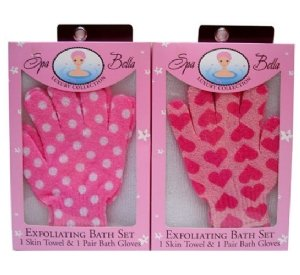 Swissco Exfoliating Bath Set Exfoliating/Pair Gloves Assorted Patterns (Single Piece)