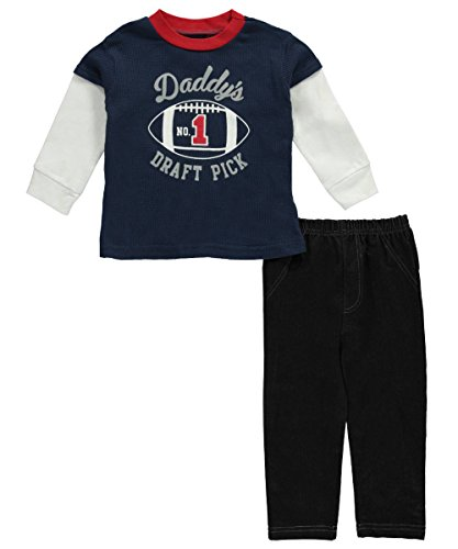 BON BEBE Baby Boys 2 Piece Long Sleeve Top with Knit Denim Pant