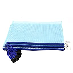 PVC Mesh Checkbook ID A5 Document File Bag Holder Pouch 5pcs Baby Blue