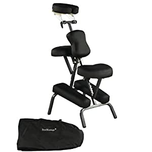"Premium BestMassage Black 4"" Portable Massage Chair Tattoo Spa Free Carry Case"