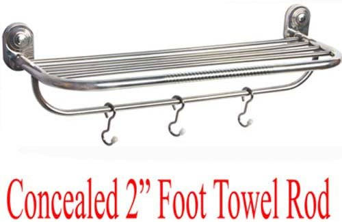 SHRUTI (Nikku) Heavy Duty Stainless Steel Bathroom Concealed Towel Rod / Towel Stand / Towel Holder / Towel Rack for routine use of Bathroom Accessories - 2 Foot Long (1614)