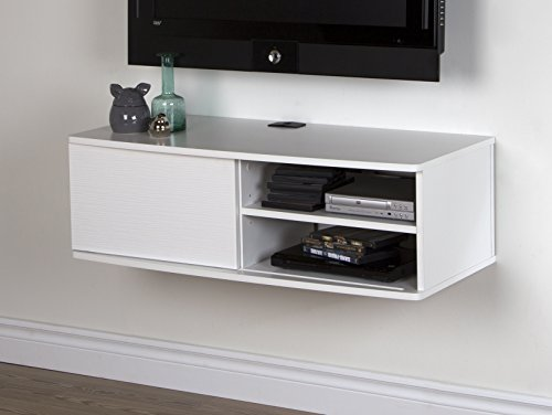 South Shore Furniture Agora Wall Mounted Media Console, 38-Inch, Pure White