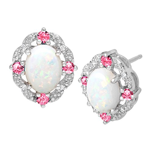 1-12-ct-Created-Opal-Pink-Sapphire-Stud-Earrings-with-Diamonds-in-Sterling-Silver