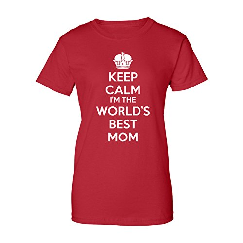 Mashed Clothing Keep Calm World's Best Mom Women's T-Shirt (Red, XL)