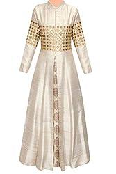 Adorn Mania Latest Designer Solid Balglori Silk Beige and Gold Women's Gown