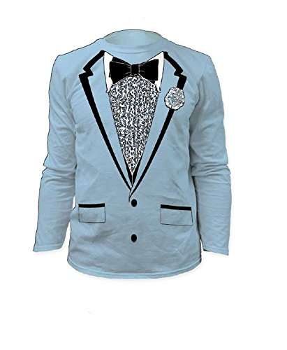 Impact Original Retro Prom Tuxedo Light Blue Long Sleeve, Large (Blue Tuxedo T Shirt compare prices)