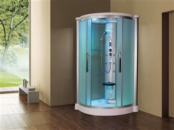 Eagle-Bath-WS801L-42-Eagle-Bath-WS-801L-Steam-Shower-Enclosure-Unit-with-6-mm-Tempered-Blue-Glass-Temperature-Sensor-Storage-Shelves-Fold-up-Seats-and-Amazon-Rainfall-Ceiling-Shower-in