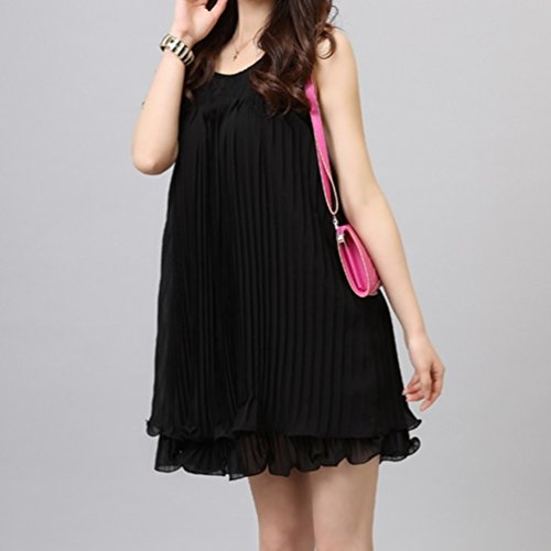 マタニティ ドレス ワンピース ふんわり シフォン で お腹を カバー 黒 ブラック (M サイズ)