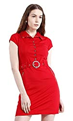 Peptrends Women's Shirt Dress (DR1501007RD, Red, Large)
