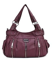 Scarleton 3 Front Zipper Washed Shoulder Bag H129216 - Purple