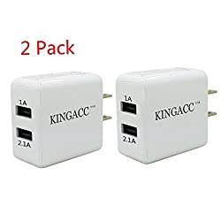 Wall Charger,KingAcc(TM) 2-Pack 10W 2.1A Dual Port USB Wall Charger With PowerSmartTM Technology for Apple iPad Air,iPads,iPad Mini,iPhone 6 6Plus 5 4,Samsung Galaxy S4 S5 S6 Note 2 3 4 Tab series, Nexus,HTC, Motorola Android Devices-1 Year Warranty