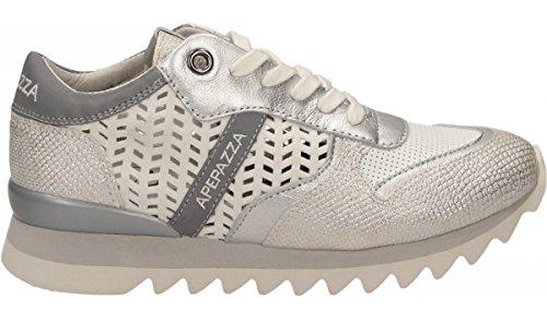 Apepazza DLY05 materialmix Dafne sneakers bianche e argento con rialzo interno n° 36