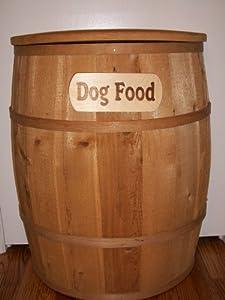 Cedar Half Barrel Dog Food Container