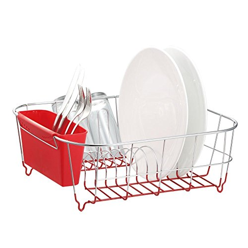 Deluxe Chrome-plated Steel Small Dish Drainers (Red) (In Sink Dish Rack Small compare prices)
