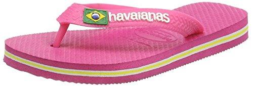 Havaianas Kids Orchid Rose Brasil Logo Flip Flops-UK 1-2