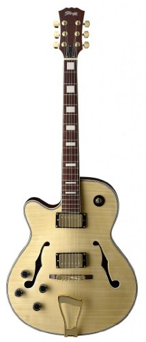 """Stagg A350Lh-N Tiger Stripe """"Jazz"""" Style Semi-Acoustic Left Handed Model Electric Guitar - Natural"""