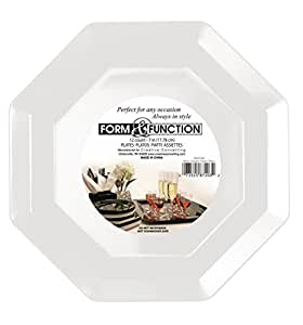 Creative Converting Form and Function Octagon Plastic Plate, White, 10.25 Inch, 8 Count (Pack of 2)