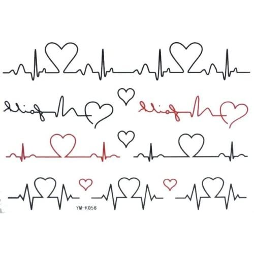 Temporary Tattoos 2pcs/lot : Electrocardiogram Tattoo Sticker : Beauty