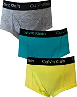 Calvin Klein Boys Solid Gray, Turquoise and Neon Yellow 3 Pack Briefs for Little Boys