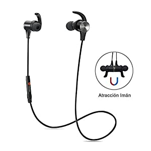 TaoTronics Auriculares Bluetooth deporte inálambrico, Auricular con magnético, aptX y manos libres Mic incorporado, Estéreo de Diseño, intercambiables y ganchos para los oídos, Color Negro