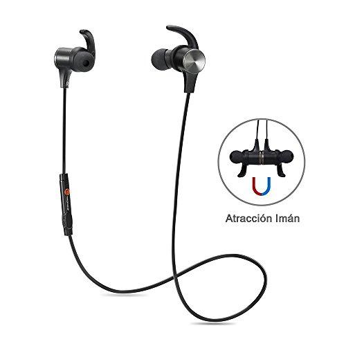 TaoTronics TT-BH07 Bluetooth 4.1 auriculares estéreo de Diseño, auricular magnético, intercambiables y ganchos para los oídos, Mic incorporado