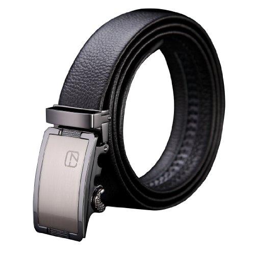 Teemzone Men's Business Style Top Genuine Leather Rachet Belt Slidebelt (115cm Waist Size 36