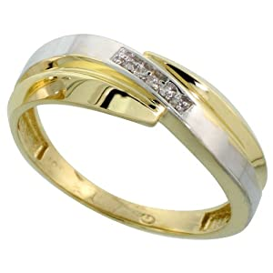 9ct Gold Men's Diamond Band, 7 mm Wide, Size U
