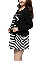 Maternity Pullover Long Sleeve Stripes Letters Strap Decor Dress