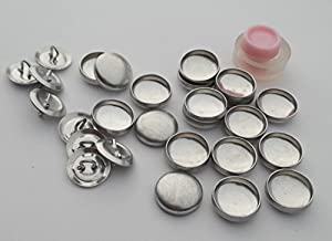 100 ButtonsUCover Size 24 Wire Loop Back Cover Buttons and Assembly Tool Kit (Color: metallic silver, Tamaño: Size 24 Wire Loop Back)