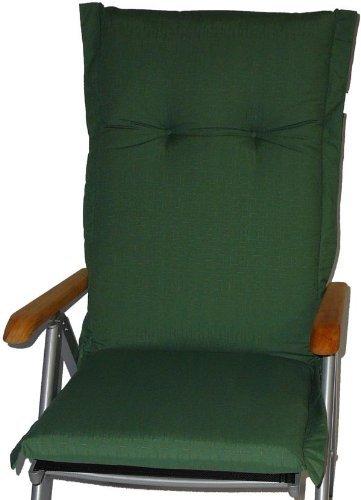 Sitzkissen in dunkelgrün für Stühle mit hoher Rückenlehne Querstreifen Struktur bestellen