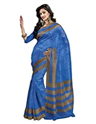 Printed Blue Color Super Net Saree With Blouse Piece