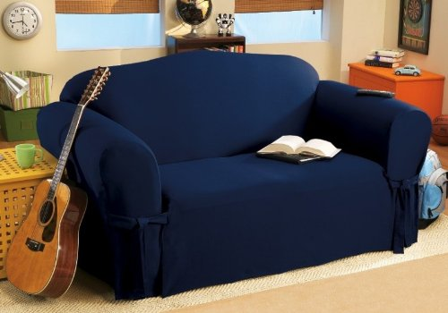 Soft Micro Suede Solid Navy Blue Loveseat Cover Slipcover front-934286