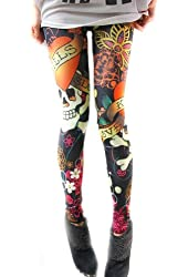 NSSTAR Sexy High Elastic Tight Funky Punk Skull Footless Leggings Fashion Graffiti Splash-ink Slim Pants Women