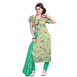 Fabfirki Yellow and Green Georgette Unstitched Salwar Suit