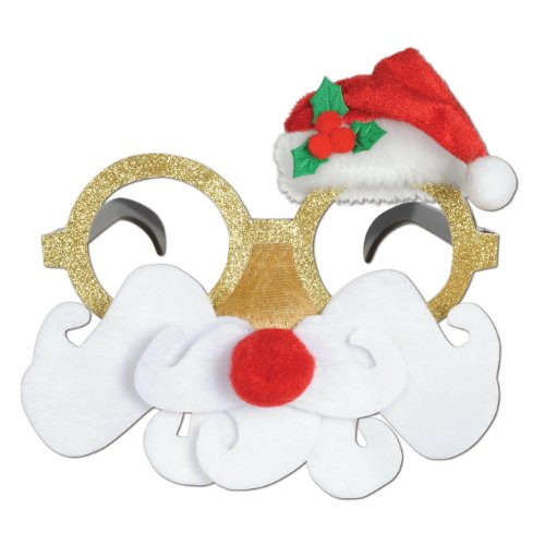 Beistle 1-Pack Glittered Santa Glasses