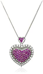 Sterling Silver Created Ruby and Created White Sapphire Pave Heart with Halo Chain Pendant Necklace, 18""