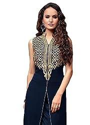 sitaram womans semistich navy blue dress material with dupatta