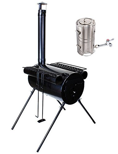Portable Military Camping Wood Cooking Ice Fishing Cook Stove Tent Heater With Water Kettle Teapot front-836424