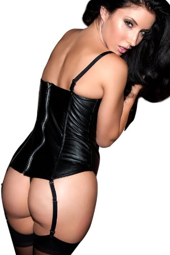Allure Lingerie Women's Leather Lace Up Corset   Night Whisper