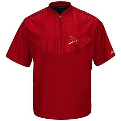 St. Louis Cardinals Red On-Field Short Sleeve Training Jacket by Majestic