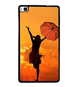 Girl with Umbrella 2D Hard Polycarbonate Designer Back Case Cover for Huawei P8