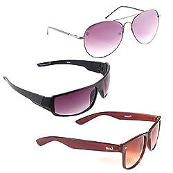 Elligator Stylish Aviator Spartiate Purple And Purple Nightvision With Brown Wayfarer Sunglasses Combo ( Set of 3 )