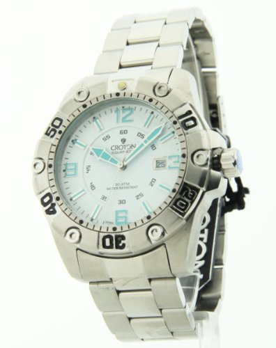 Croton Mens Aquamatic Extreme Divers 30 ATM Steel Date Watch CA301190SSDW