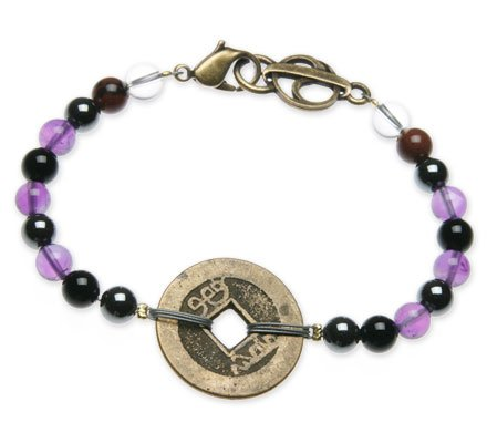 "Amethyst, Hematite and Onyx ""Transformation"" Bracelet with Coin – 8″"