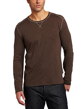 Hugo Boss Mens Pisa 33 Long-Sleeve Crew Shirt, Dark Brown, Medium