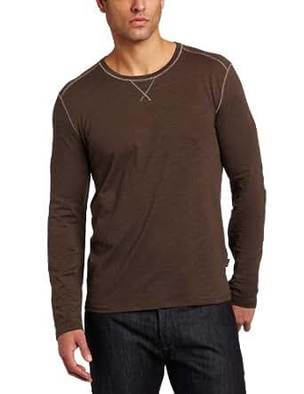 Hugo Boss Mens Pisa 33 Long-Sleeve Crew Shirt, Dark Brown, Medium