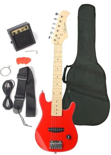 Barcelona Kid Series Electric Guitar with 5-Watt Amp, Gig Bag, Strap, Cable, Strings, Picks, and Wrench - Metallic Red
