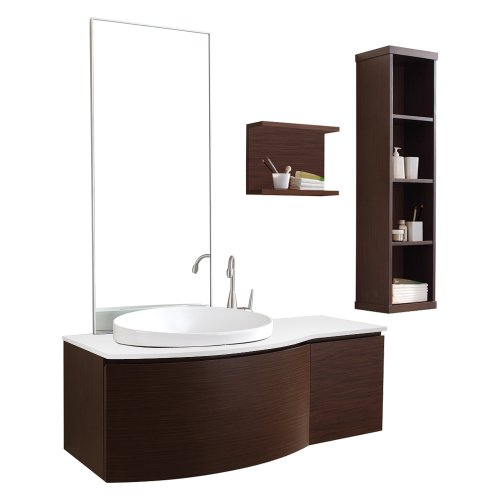 Virtu USA ES-1048-S-WA Isabelle 48-Inch Wall-Mounted Single Sink Bathroom Vanity Set with White Stone Countertop, Walnut Finish