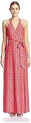 JB by Julie Brown Women's Sharon Maxi Wrap Dress, Coral, XL